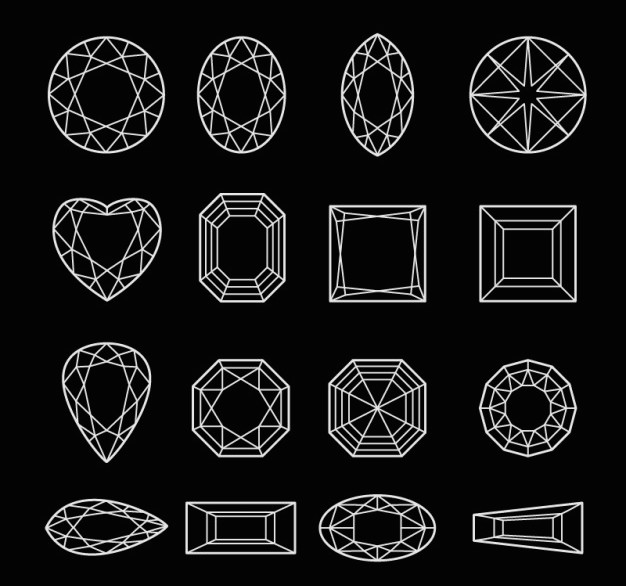 diagrams of different diamond shapes